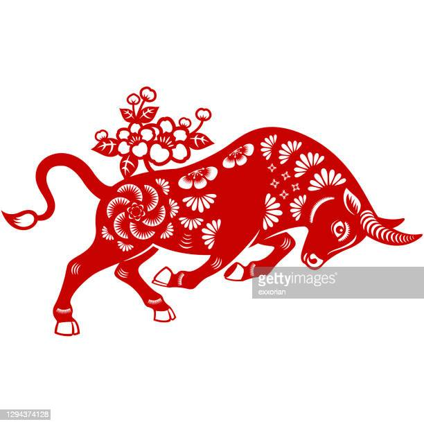 year of the ox papercut - wild cattle stock illustrations
