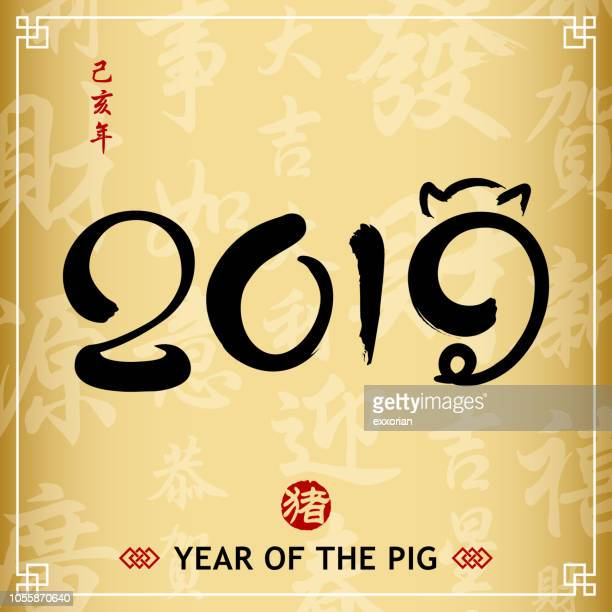 year of the pig 2019 calligraphy - year of the pig stock illustrations