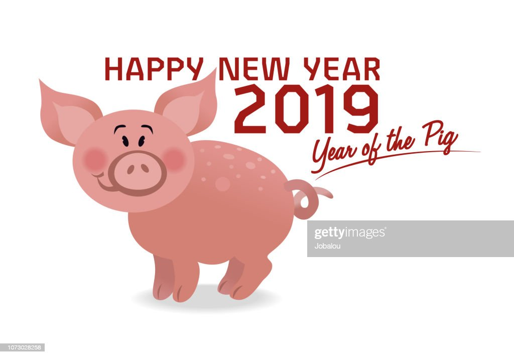 Year Of The Pig Happy New Year 2019 stock illustration - Getty Images