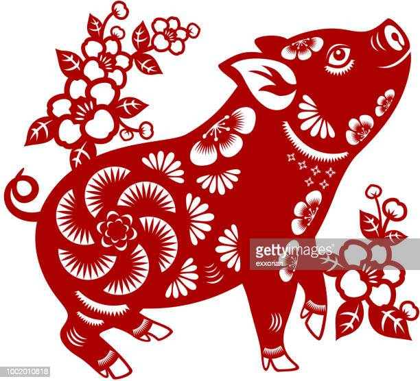 year of the pig papercut - chinese new year stock illustrations, clip art, cartoons, & icons