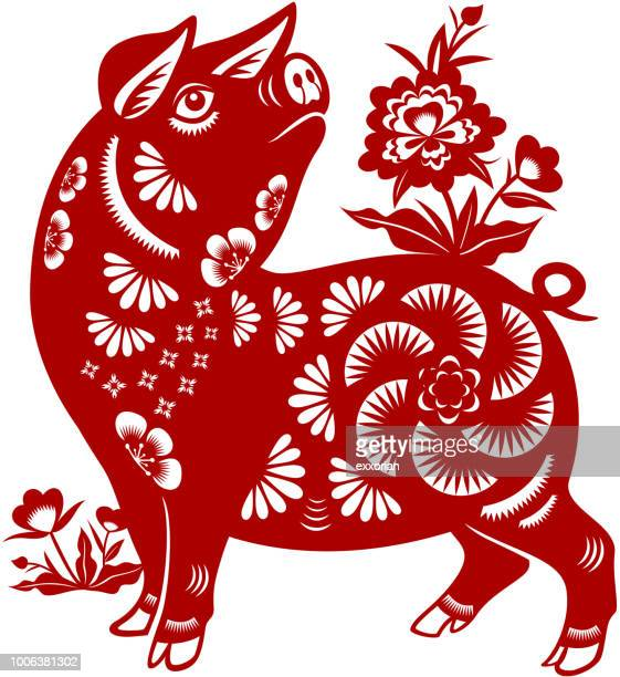 year of the pig papercut - chinese zodiac sign stock illustrations, clip art, cartoons, & icons
