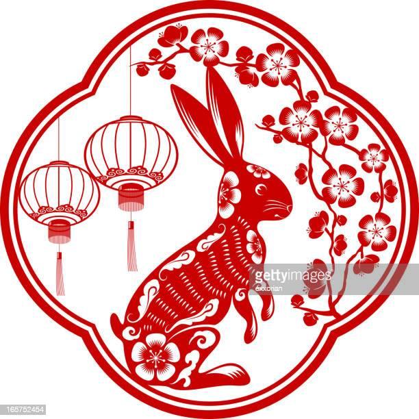 bildbanksillustrationer, clip art samt tecknat material och ikoner med year of the rabbit - kinesiska lyktfestivalen