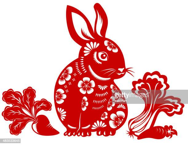 year of the rabbit - chinese zodiac sign stock illustrations, clip art, cartoons, & icons