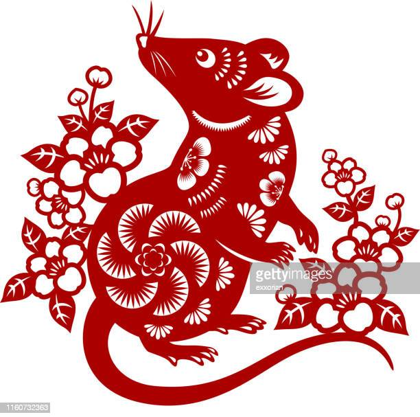 year of the rat papercut - chinese zodiac sign stock illustrations, clip art, cartoons, & icons