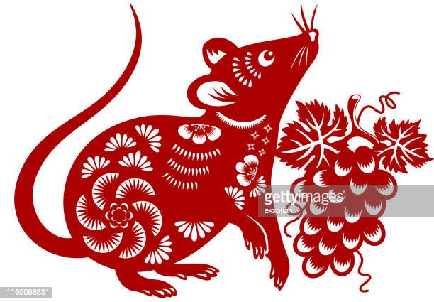 year of the rat papercut - chinese new year stock illustrations