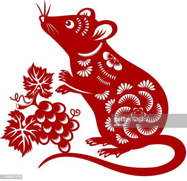 ilustrações de stock, clip art, desenhos animados e ícones de year of the rat papercut - ratazana