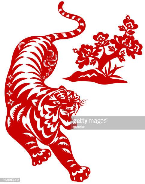 year of the tiger paper-cut art - chinese culture stock illustrations