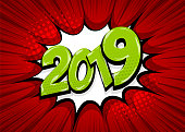 2019 year pop art comic book text speech bubble