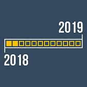 2018 year progress bar, step-by-step concept