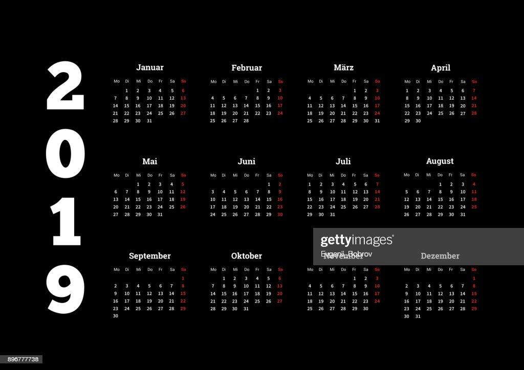 2019 year simple white calendar on german language on black backdround