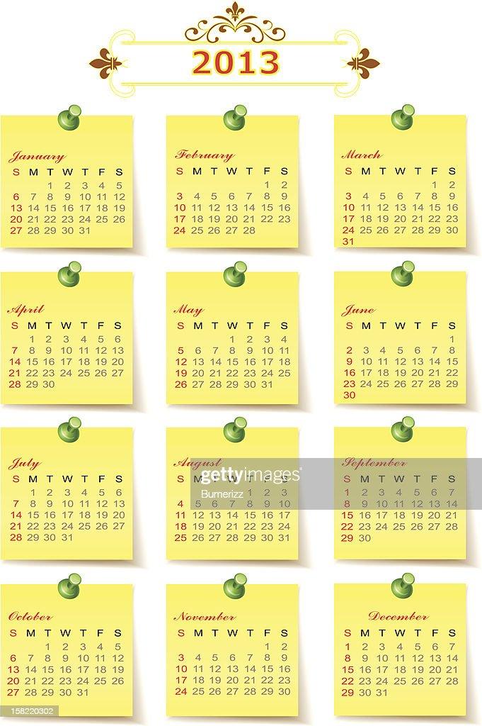 Year vector calendar 2013