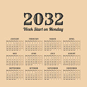 2032 year vintage calendar. Weeks start on monday