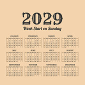 2029 year vintage calendar. Weeks start on Sunday