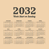 2032 year vintage calendar. Weeks start on sunday
