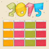 Yearly 2015 calendar design.