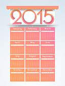 Yearly calendar for Happy New Year 2015 celebration.