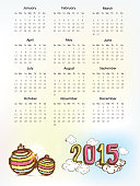 Yearly calendar for Happy New Year 2015.
