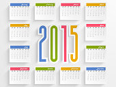 Yearly calendar of 2015 for Happy New Year celebration.