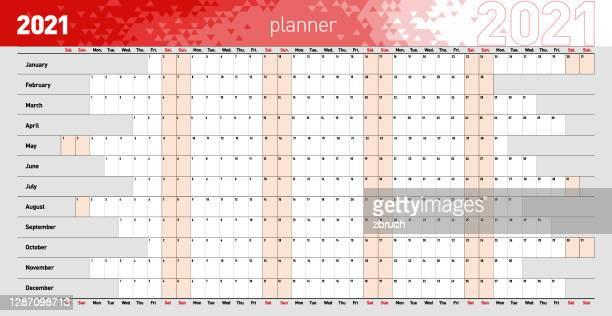 jährlicher wandplaner für das jahr 2021 in roten farben. vektor-illustration .eps10 - jährliches ereignis stock-grafiken, -clipart, -cartoons und -symbole