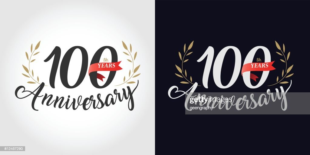 100 years, 100th anniversary, number, hand writing, and red ribbon. vintage style