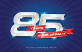 85 years anniversary background with red ribbon and star on blue background. celebrating icontype, poster or brochure template. Vector illustration
