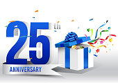 25 years anniversary background with ribbon, confetti and gift on white. Poster or brochure template. Vector illustration.