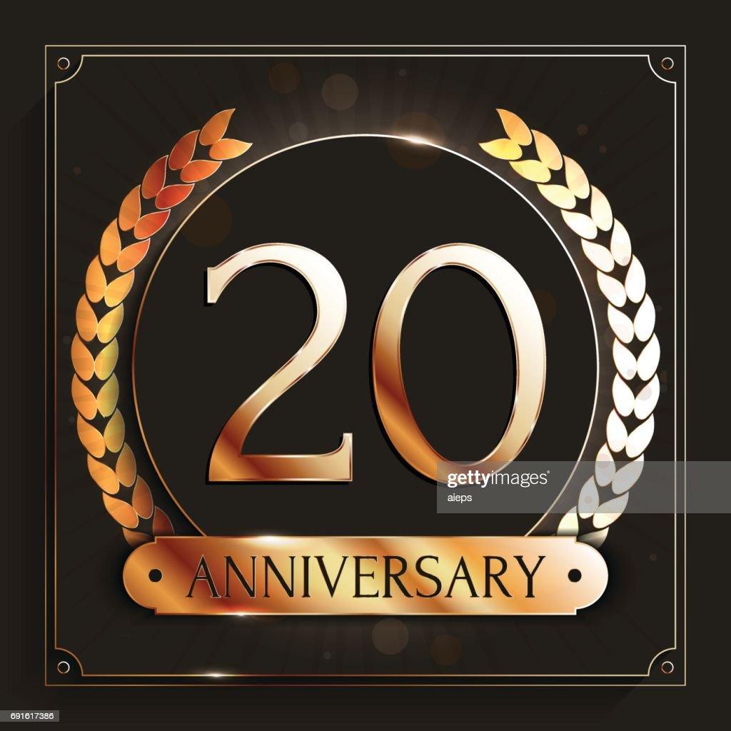 20 Jaar Verjaardag Banner 20ste Verjaardag Gouden Embleem Op Donkere