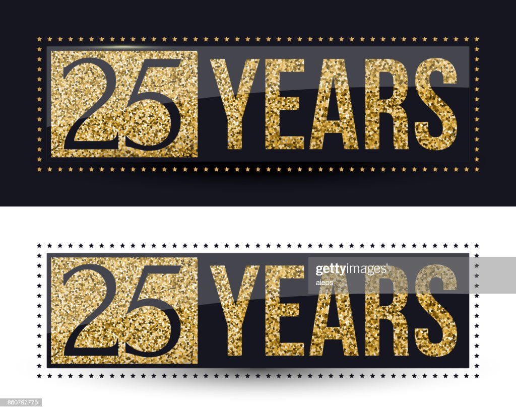 25 years anniversary banner. 25th anniversary gold icon on dark and white backgrounds.