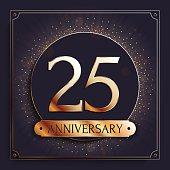 25 years anniversary banner. 25th anniversary gold icon on dark background.