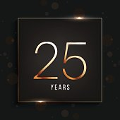 25 years anniversary banner. 25th anniversary gold logo on dark background.