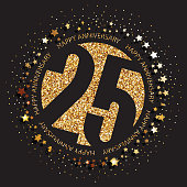 25 years anniversary banner. 25th anniversary gold  on dark background.