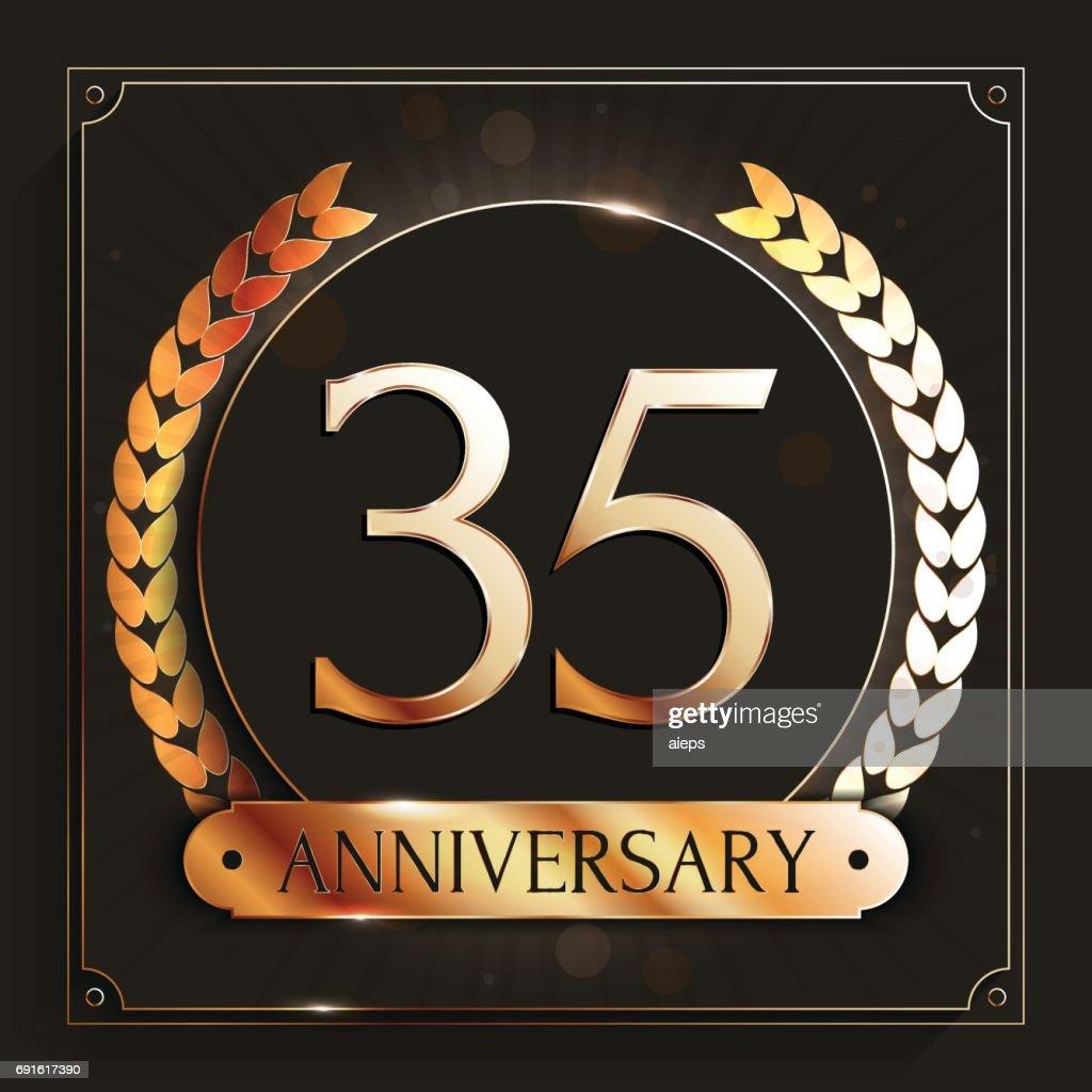 35 Jaar Verjaardag Banner 35e Verjaardag Gouden Embleem Op Donkere
