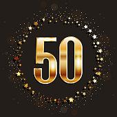 50 years anniversary banner. 50th anniversary gold icon on dark background.