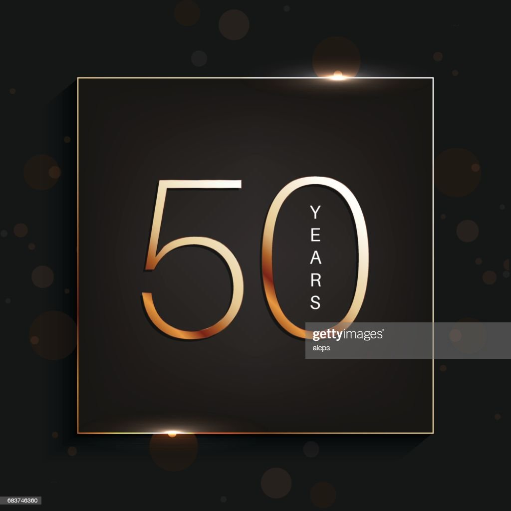 50 years anniversary banner. 50th anniversary gold logo on dark background.
