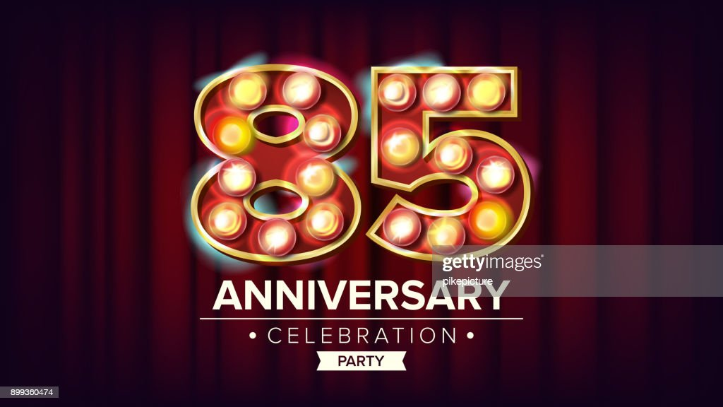 85 Years Anniversary Banner Vector. Eighty-five, Eighty-fifth Celebration. Shining Light Sign Number. For Business Cards, Postcards, Flyers, Gift Cards Design. Modern Red Background Illustration