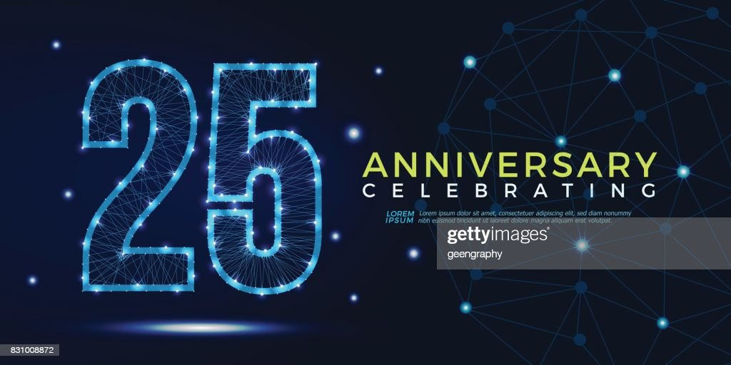 25 years anniversary celebrating numbers vector abstract polygonal silhouette. 25th anniversary concept. vector illustration
