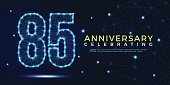 85 years anniversary celebrating numbers vector abstract polygonal silhouette. 85th anniversary concept. vector illustration