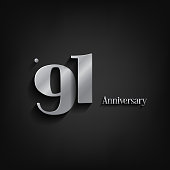 91 years anniversary  celebration. Anniversary logo elegance number and 3D style color and shadow isolated on black background, vector design for celebration, invitation card, and greeting card