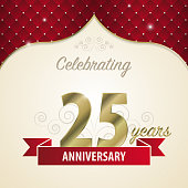 25 years anniversary celebration golden style. Vector