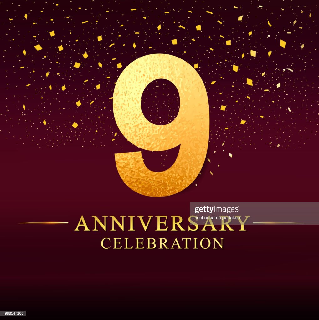 9 years anniversary celebration logotype. Anniversary logo with golden on dark pink