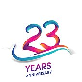 23 years anniversary celebration logotype blue and red colored.