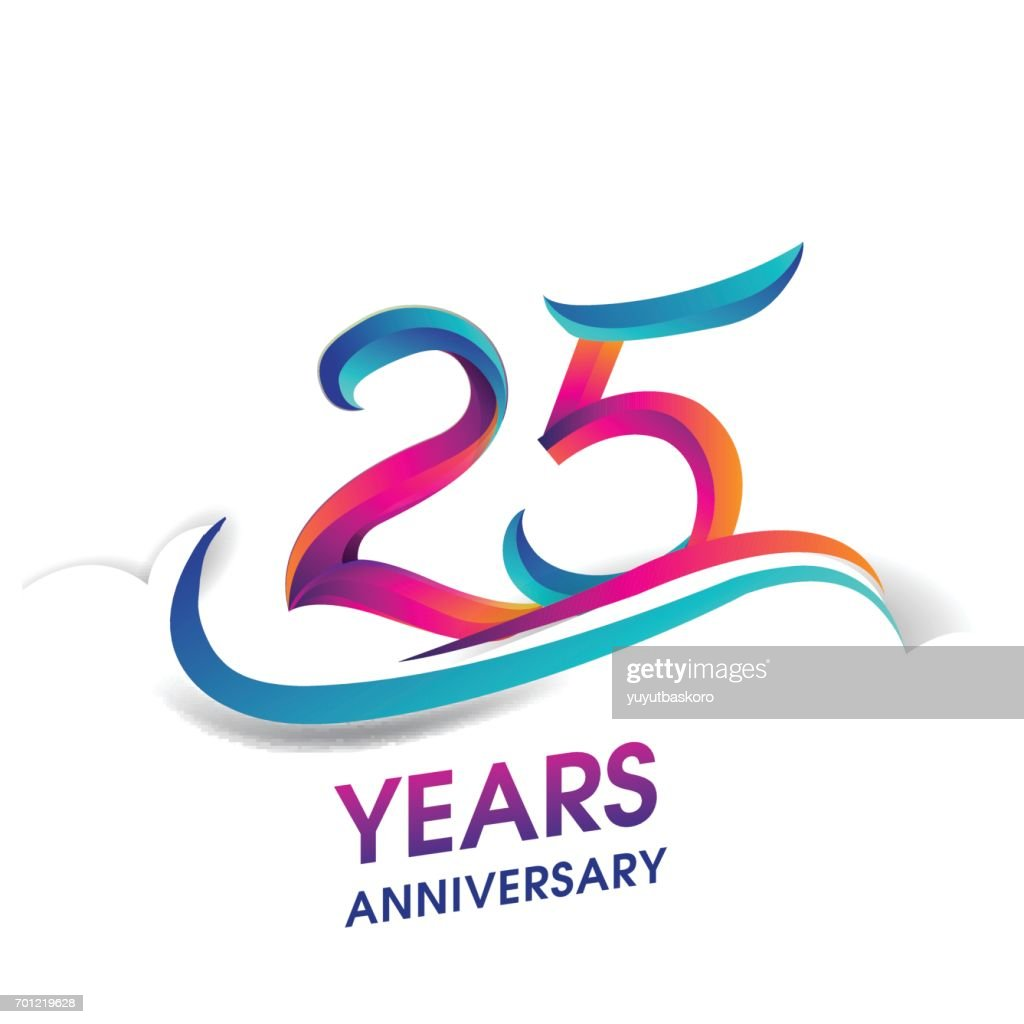 25 years anniversary celebration logotype blue and red colored.