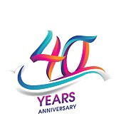 40 years anniversary celebration logotype blue and red colored.