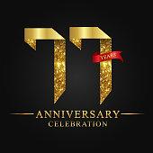 77 years anniversary celebration logotype