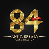 84 years anniversary celebration logotype
