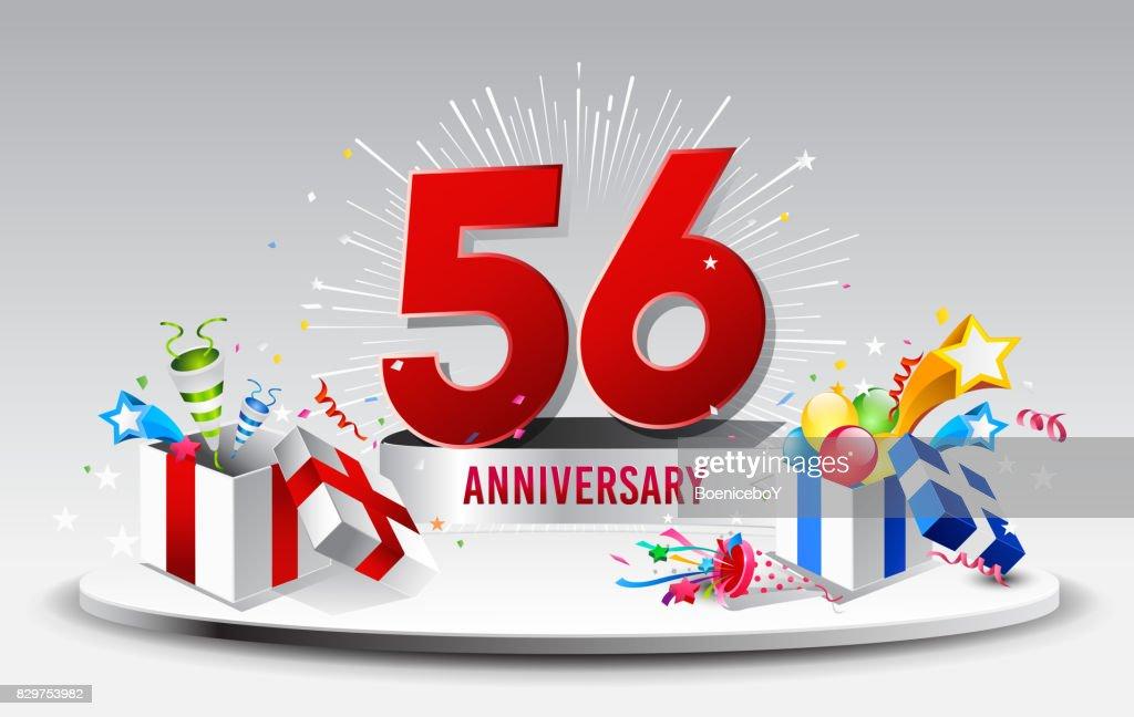 Verjaardag 56.56 Jaar Verjaardag Viering Vector Verjaardag