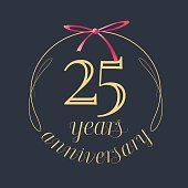 25 years anniversary celebration vector icon,