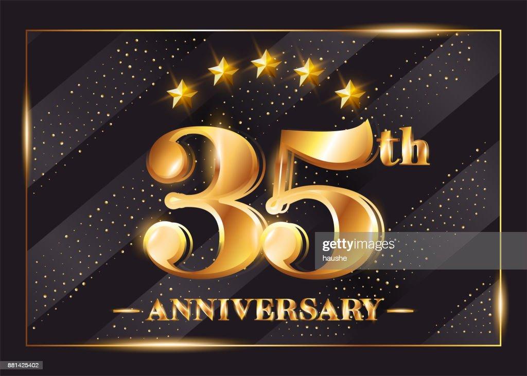 35 Years Anniversary Celebration Vector Symbol 35th Anniversary Gold