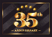35 Years Anniversary Celebration Vector symbol. 35th Anniversary Gold Icon with Stars and Frame. Luxury Shiny Design for Greeting Card, Invitation, Congratulation Card. Isolated on Black Background.