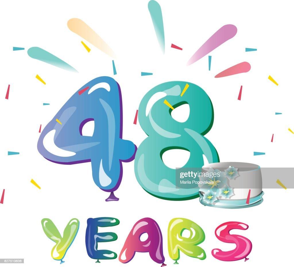 48 Jaar Verjaardag Feest Met Taart Vectorkunst Getty Images